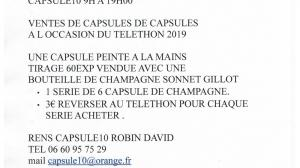 ANIMATION TELETHON 2019 TROYES CAPSULES DE CHAMPAGNE