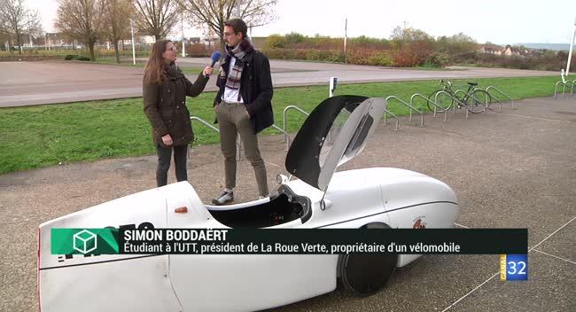 Canal 32 - L'Instant Etudiant : Simon, un étudiant de l'UTT qui se déplace en vélomobile