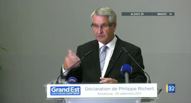 Canal 32 - L'émotion de Philippe Richert après sa démission de la présidence de la région Grand Est