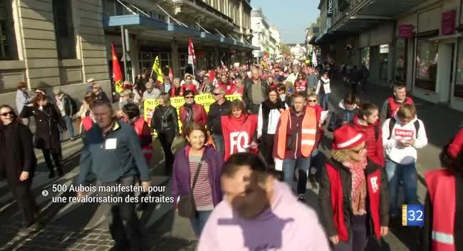 Canal 32 - 500 Aubois manifestent pour une revalorisation des retraites