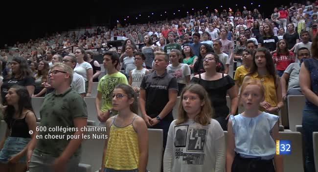 Canal 32 - Nuits de Champagne : premières répétitions pour les 600 collégiens de l'Aube à l'Unisson
