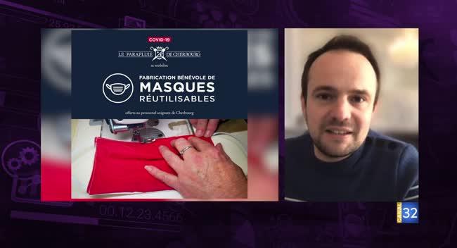 Canal 32 - Business Club, l'interview flash éco - Le Parapluie de Cherbourg fabrique des masques