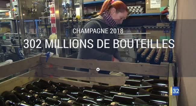 Canal 32 - Champagne : 302 millions de bouteilles écoulées en 2018.