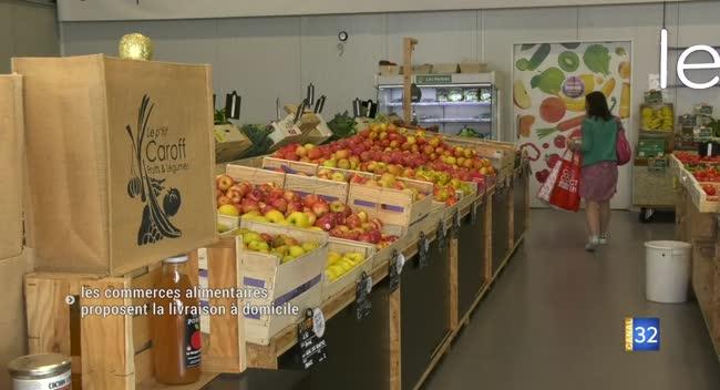 Canal 32 - Covid-19 : les commerces alimentaires proposent de livrer à domicile. Reportage.
