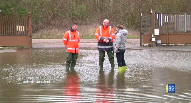 Canal 32 - Entreprises inondées, l'activité au ralenti à Crancey
