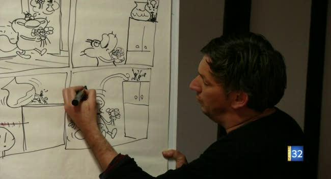 Canal 32 - Le dessinateur de la BD Oggy et les Cafards anime un atelier ludique