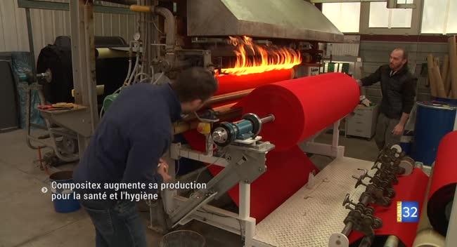 Canal 32 - Rosières : l'entreprise Compositex augmente sa production pour la santé et l'hygiène