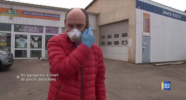 Canal 32 - Covid-19 : les garagistes, à court de pièces détachées, se posent la question de l'ouverture