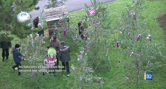 Canal 32 - Les habitants d'Eguilly-sous-Bois décorent leur village pour Noël