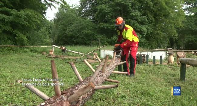 Canal 32 - Crogny : Lucas, étudiant bucheron, s'entraîne à la coupe de bois sportive
