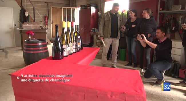 Canal 32 - Neuf artistes alsaciens créent une étiquette de champagne unique