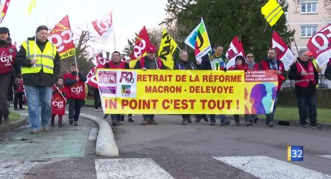 Canal 32 - Retraites : plus de 300 manifestants ce mercredi pour dire non à la réforme