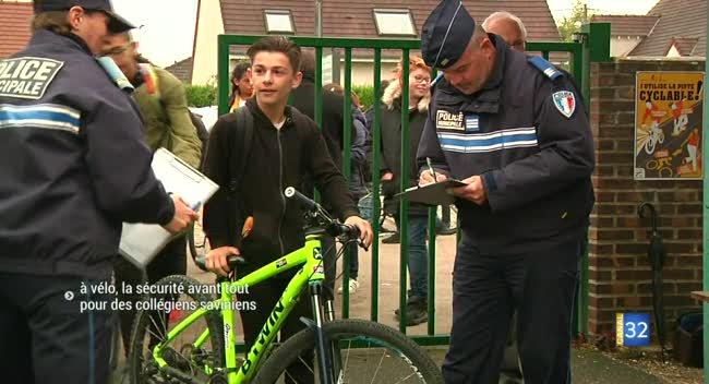 Canal 32 - A vélo, la sécurité avant tout pour des collégiens saviniens