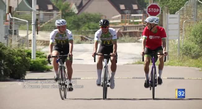 Canal 32 - Trois jeunes cyclistes traversent la France pour aider les enfants hospitalisés
