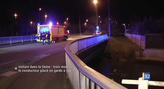 Canal 32 - Trois morts dans la chute d'une voiture dans la Seine. Le conducteur en garde à vue. RECIT COMPLET