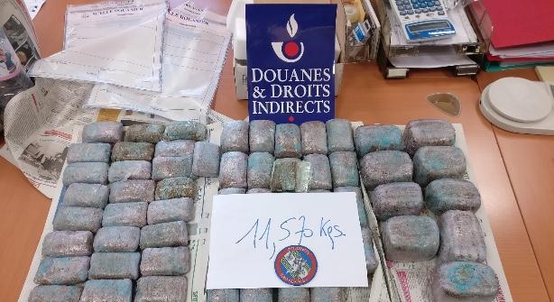 Emission 11,5kg de résine de cannabis saisie par la brigade des douanes de Troyes