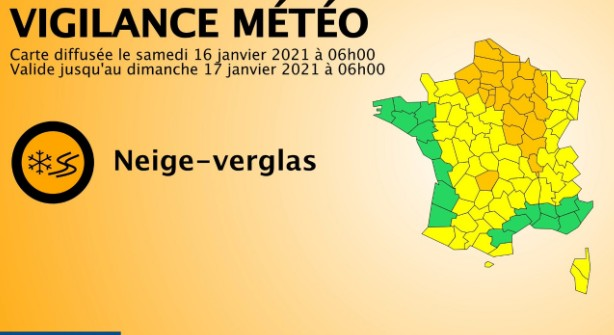 Emission Neige et verglas : l'Aube placée en vigilance orange